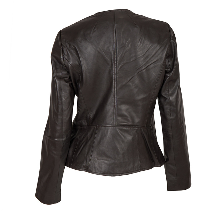 Ladies' Leather Jacket with Asymmetric Zip bata, brown , 974-4177 - 26