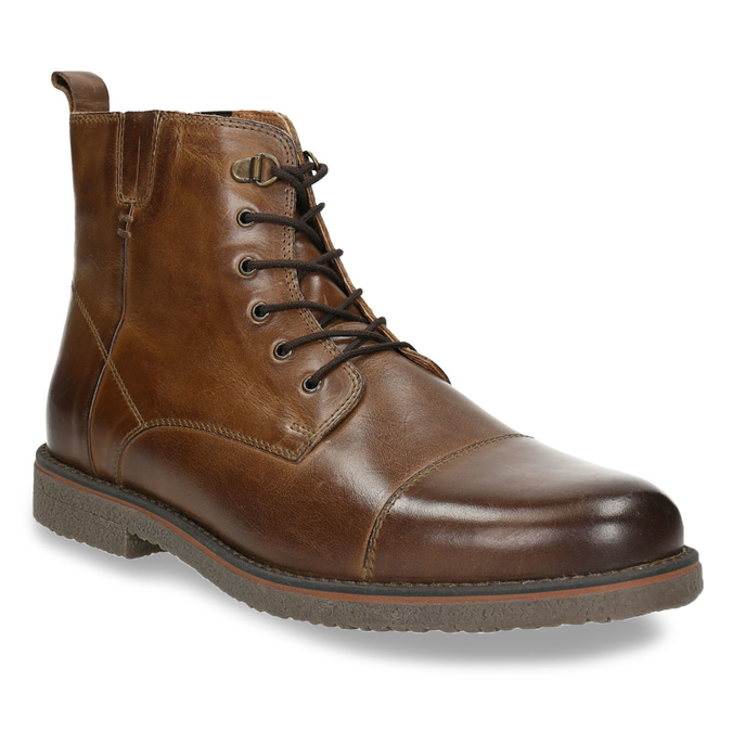 Insulated Leather Ankle Boots bata, brown , 896-4662 - 13