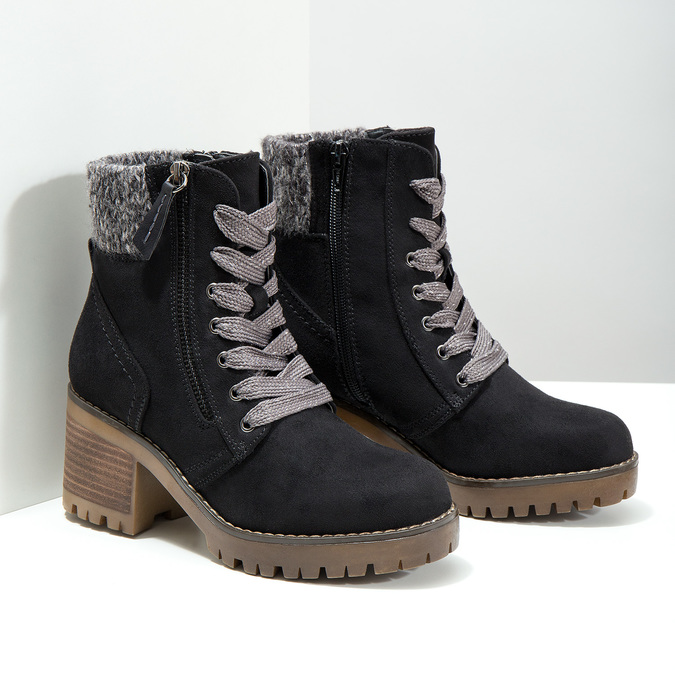 Ankle Boots with Chunky Heel bata, black , 699-6633 - 18