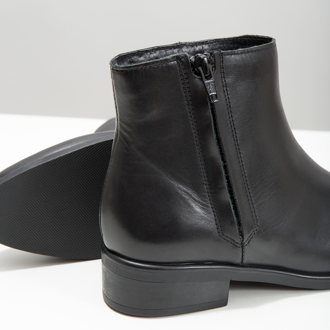 Black leather ankle boots with zip bata, black , 594-6518 - 14
