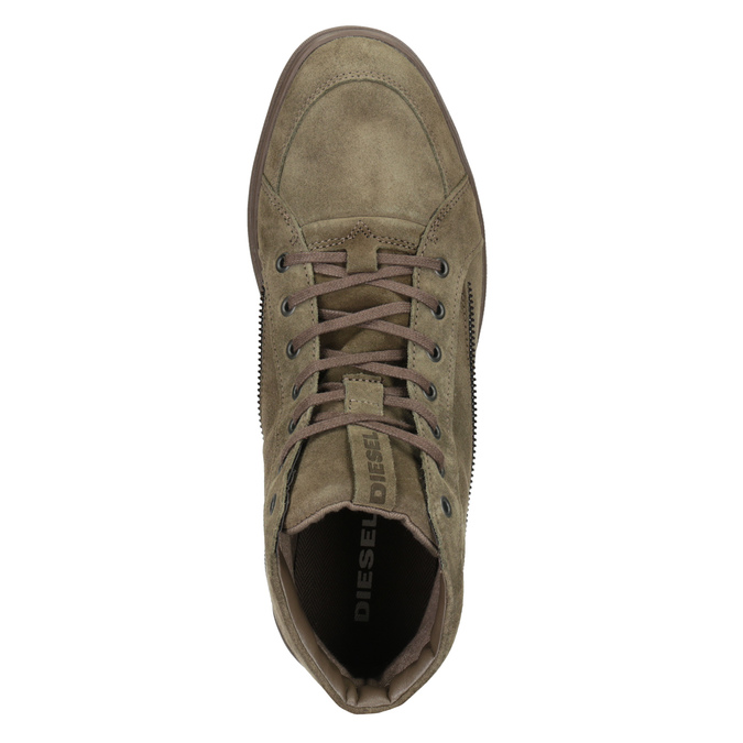 Brushed leather ankle sneakers diesel, brown , 803-4629 - 17