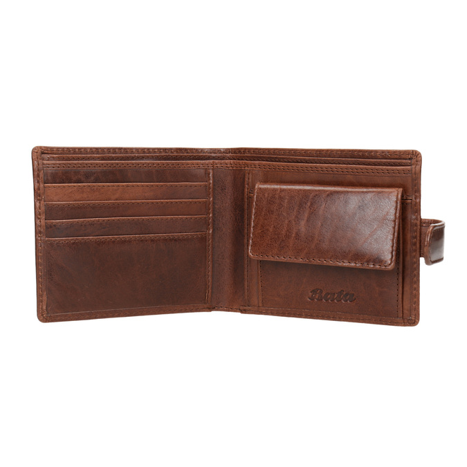 Gift pack with leather belt and wallet bata, brown , 954-4200 - 15