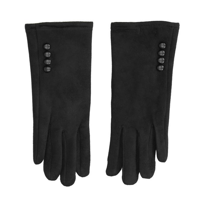 Ladies' textile gloves bata, black , 909-6612 - 26