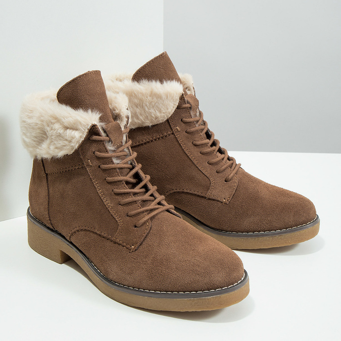 Ladies' Winter Boots with Fleece bata, brown , 593-4607 - 18