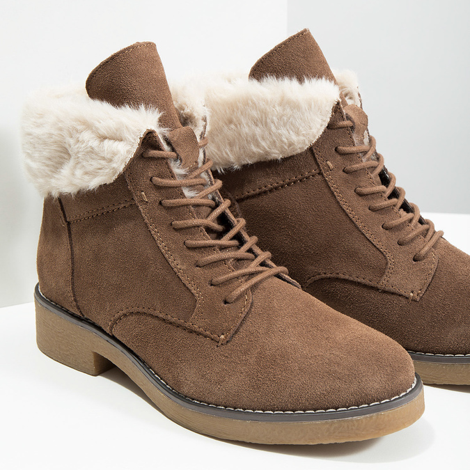 Ladies' Winter Boots with Fleece bata, brown , 593-4607 - 14