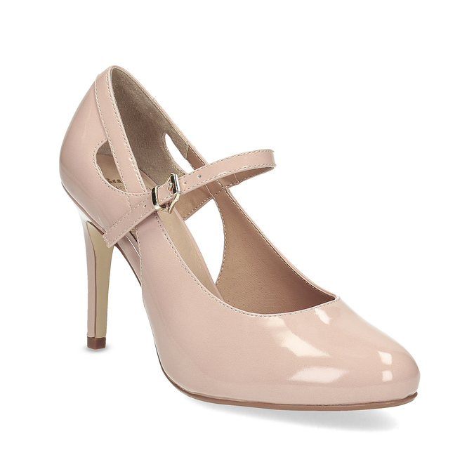 Pinkish cream-colored pumps with cut-outs insolia, pink , 721-8614 - 13