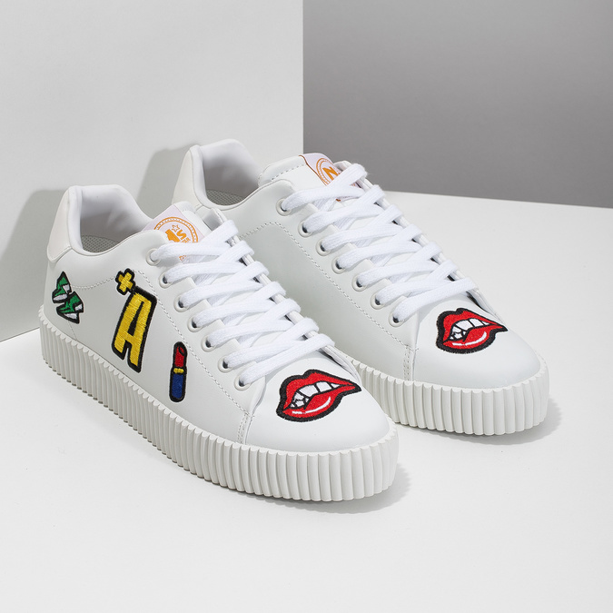 Ladies' white sneakers with patches north-star, white , 541-1602 - 26