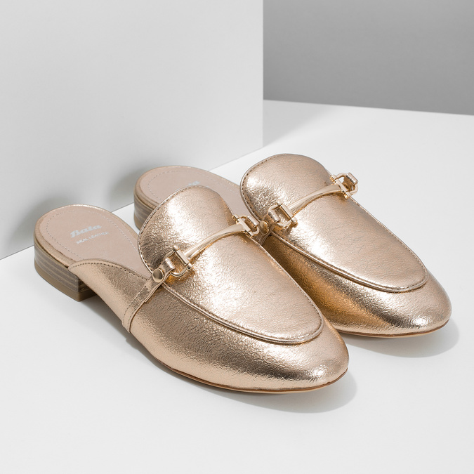 Ladies' slippers with a buckle bata, gold , 511-8609 - 26