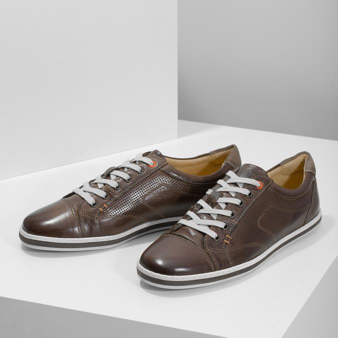 Men's leather sneakers bata, brown , 846-4617 - 16