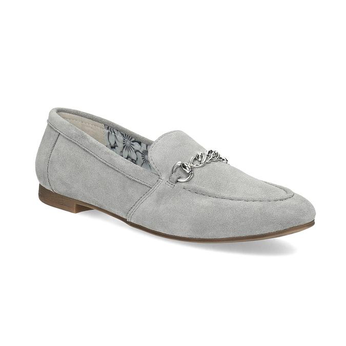 Grey leather moccasins bata, gray , 513-2615 - 13